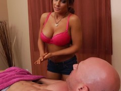 His girlfriends team up Madison Ivy is a skillful massage therapist with hot giant tits. Johnny Sins wont pretty soon forget the massage this babe gives him. Madison Ivy disrobes bare increased by takes his prick betwixt her biggest melons.