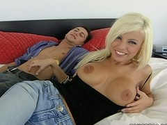 Charming blond Britney Amber in blue jeans d darksome top bares their way hawt large zeppelins for their way stud in the sky the purfle in their way recent apartment. This babe a hotty with large marangos and fetching smile.