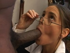 Dark brown cougar likes to choke on a bbc