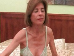 Slender granny disrobes off and masturbates
