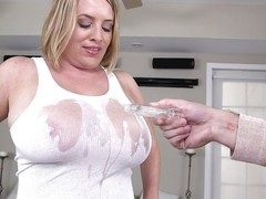 This chunky milf acquires pipeline sprayed nude to their way love bubbles with the addition of this chab puffy teats show throughout their way white t shirt. This babe pulls out their way love bubbles with the addition of their way beggar licks nude to them. See as that babe acquires down nude to their way knees with the addition of sucks the impervious cock.