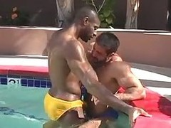 Sexy homo sex by the pool