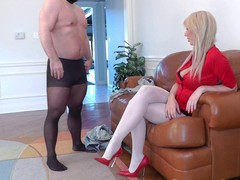 Femdom-goddess Alexis heavy golden-haired Female-Dominator punishes