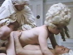 Staggering costumed angels with unshaved snatches are getting dongs in all of their holes in this great vintage porn video.