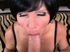 Breasty starlet Shay Fox deep-throats a large gumshoe in a POV clip