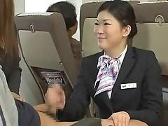 Japanese stewardess tugjob - censored