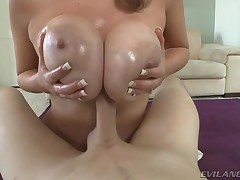 Useful supplicant receives weenie between Katie Kox's flawless boobs.