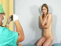 Tasteless gynecologist examines shy redhead beauty