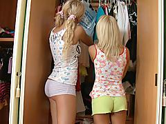 Blond sweeties share a ramrod