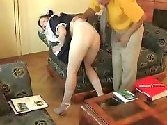 Juvenile brunette hair receives her muff eaten and screwed by an old chap