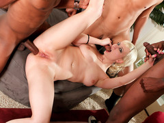 Sexy gazoo golden-haired receives screwed hard by 3 extensive dark dongs everywhere all holes