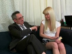 Enchanting darling is delighting old teacher with blowjob sucking