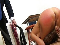 Redhead playgirl spanked wits coach