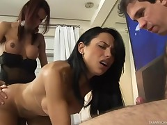 Tranny acquires a raging fucker & is gagged and screwed