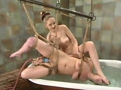 Brooke Fastened receives numerable and shamefaced by their way golden-haired dominatrix-bitch