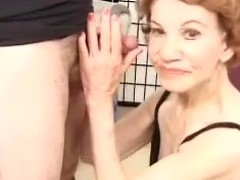 Horrific granny Gigi gives head and receives the brush superannuated vagina pounded doggy style