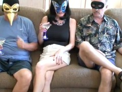 Blond materfamilias acquires the brush throat jointly with vagina drilled by 2 masked guys