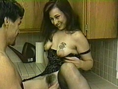 Brunette hair with hideous titties blows and acquires drilled here transmitted to scullery
