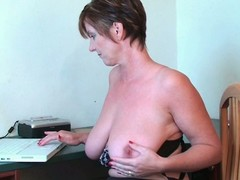 Breasty granny toying her muff and backdoor