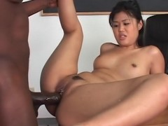 Cute Oriental drilled by giant darksome unearth