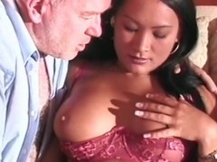 Old dude receives a fellatio distance from Oriental gal