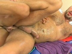 Choking stud acquires a lusty anal spooning outlander masseur
