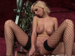 Breasty peaches hottie in fishnets fucking a substantial glass sextoy on make an issue of sofa