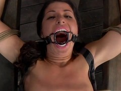 Dominant is giving gagged hottie a depreciatory juicy crack fawning