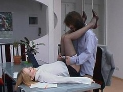 Red sexy female co-worker in smooth tights holding working fucking rencounter